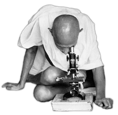 Gandhi looking in a microscope: the photograph which inspired MGIMS logo