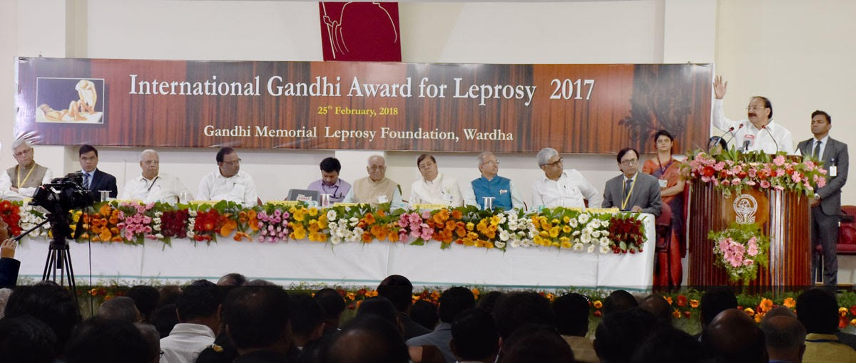 Vice President of India visits MGIMS to present the IGA for Leprosy