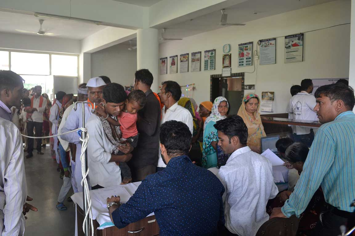 Patients visiting Sushila Nayal Hospital, Dharni